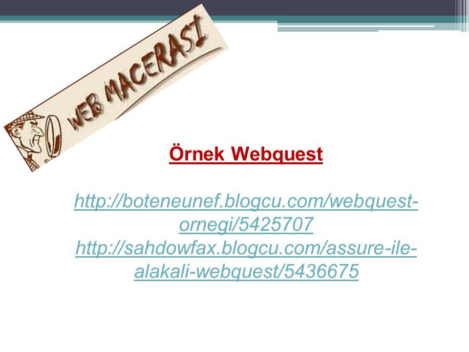 Örnek Webquest http://boteneunef.blogcu.com/webquest- ornegi/5425707 http://sahdowfax.blogcu.com/assure-ile- alakali-webquest/5436675