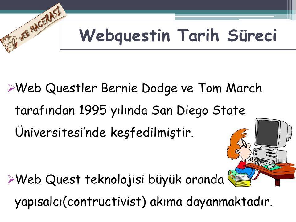  Web Questler Bernie Dodge ve Tom March tarafından 1995 yılında San Diego State Üniversitesi'nde keşfedilmiştir.  Web Quest teknolojisi büyük oranda