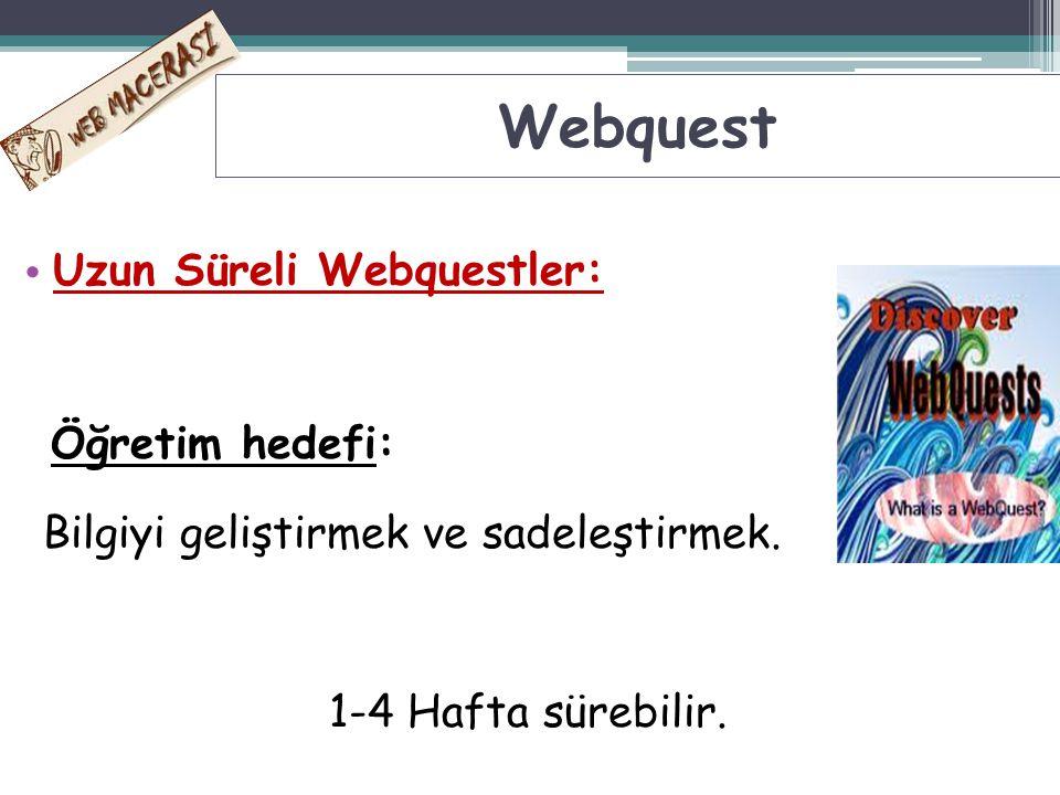 Uzun Süreli Webquestler: Öğretim hedefi: Bilgiyi geliştirmek ve sadeleştirmek. 1-4 Hafta sürebilir. Webquest