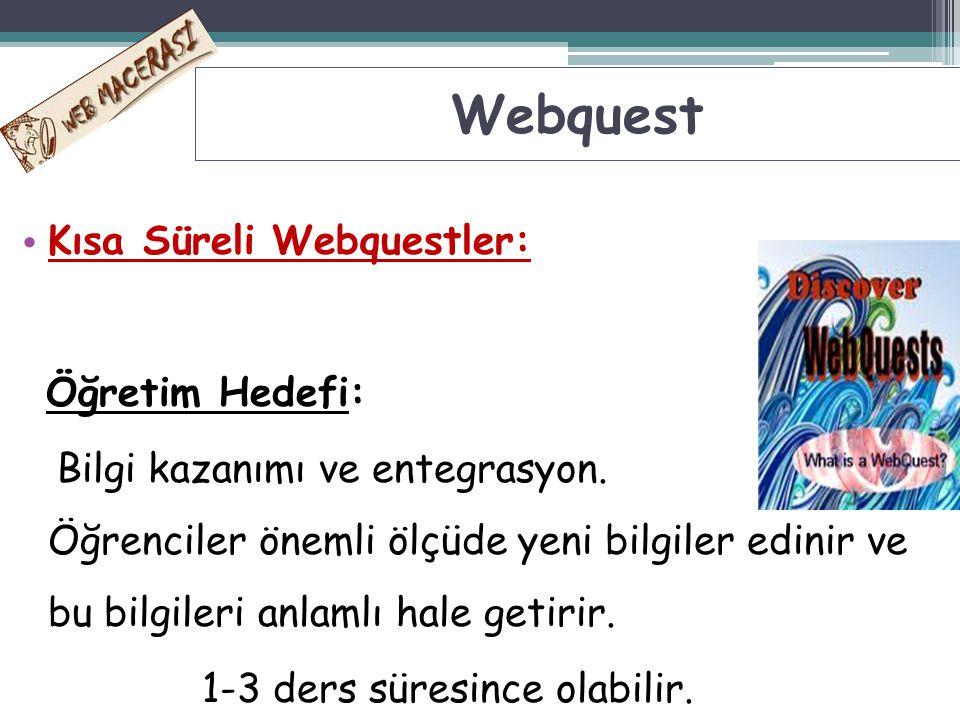 Kısa Süreli Webquestler: Öğretim Hedefi: Bilgi kazanımı ve entegrasyon. Öğrenciler önemli ölçüde yeni bilgiler edinir ve bu bilgileri anlamlı hale get