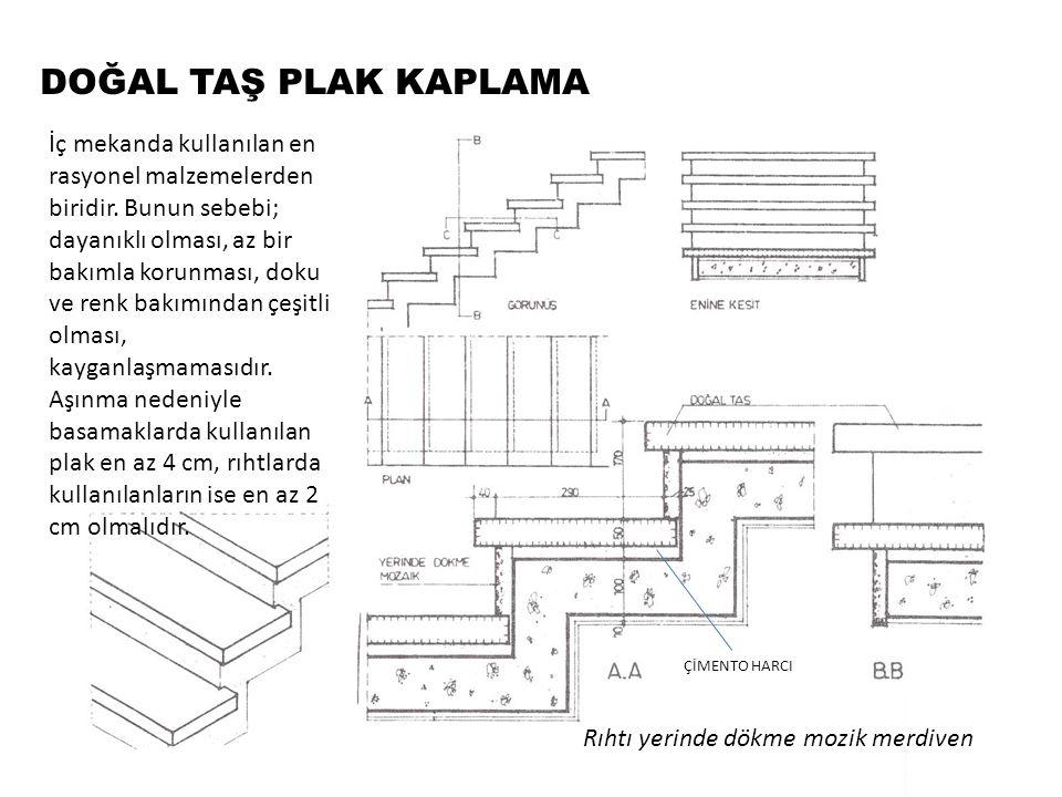 DOĞAL TAŞ PLAK KAPLAMA Rıhtı doğal taş kaplama merdiven Rıhtlar da doğal taş ile kaplanıyorsa bu plakların basamaklara gelen yüklerin etkisi ile yerinden oynamaması için, alt ve üst kenarlarındaki derzler harçsız olmalıdır.