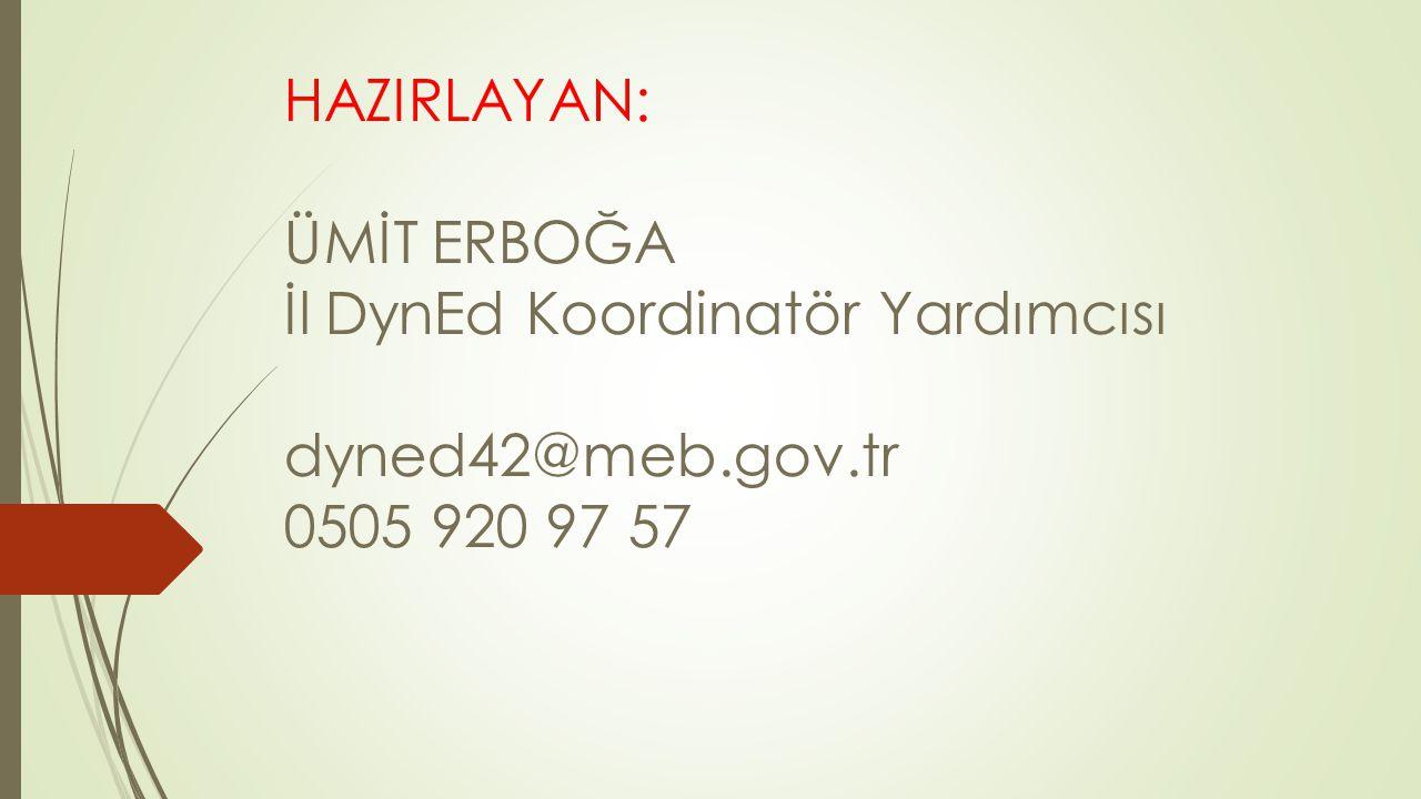 HAZIRLAYAN: ÜMİT ERBOĞA İl DynEd Koordinatör Yardımcısı dyned42@meb.gov.tr 0505 920 97 57