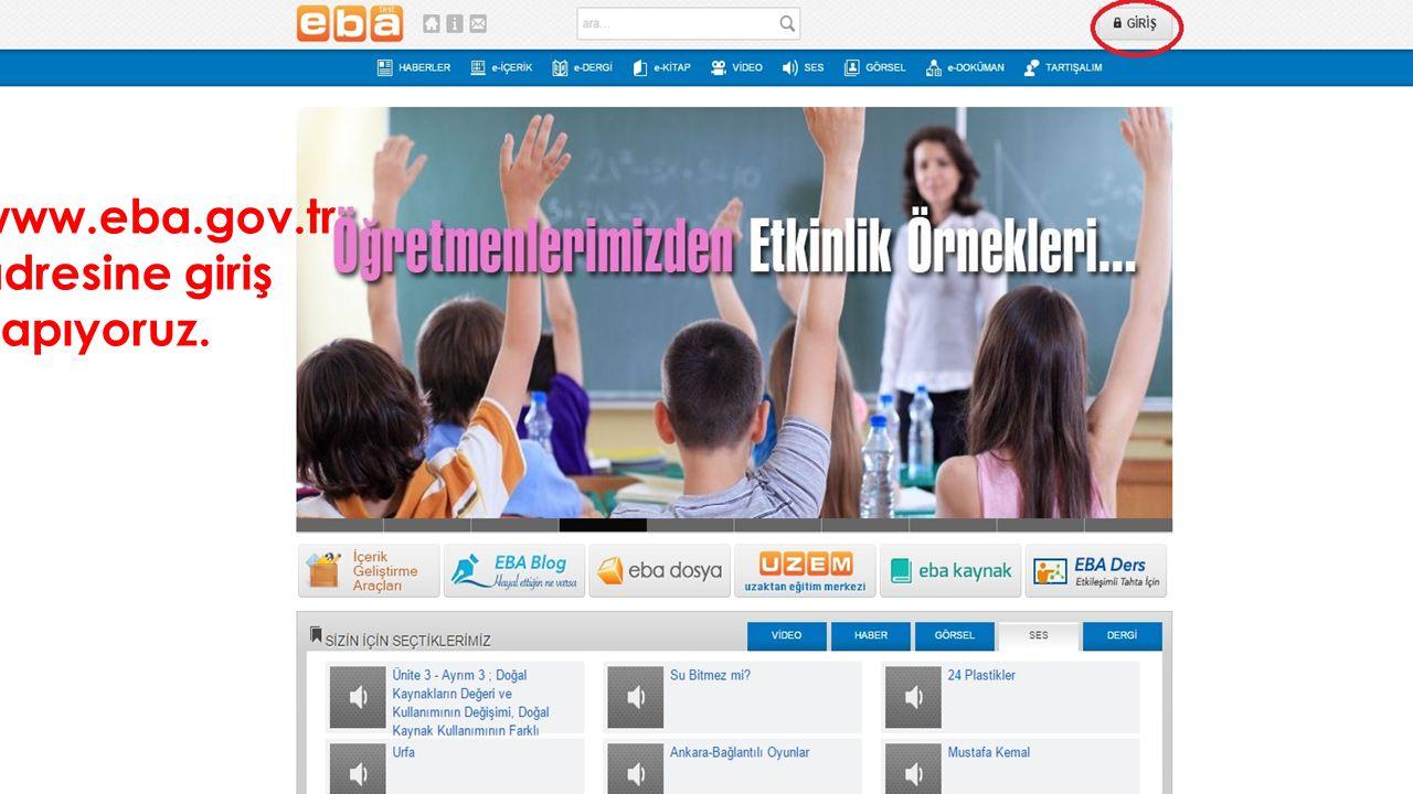 www.eba.gov.tr adresine giriş yapıyoruz.