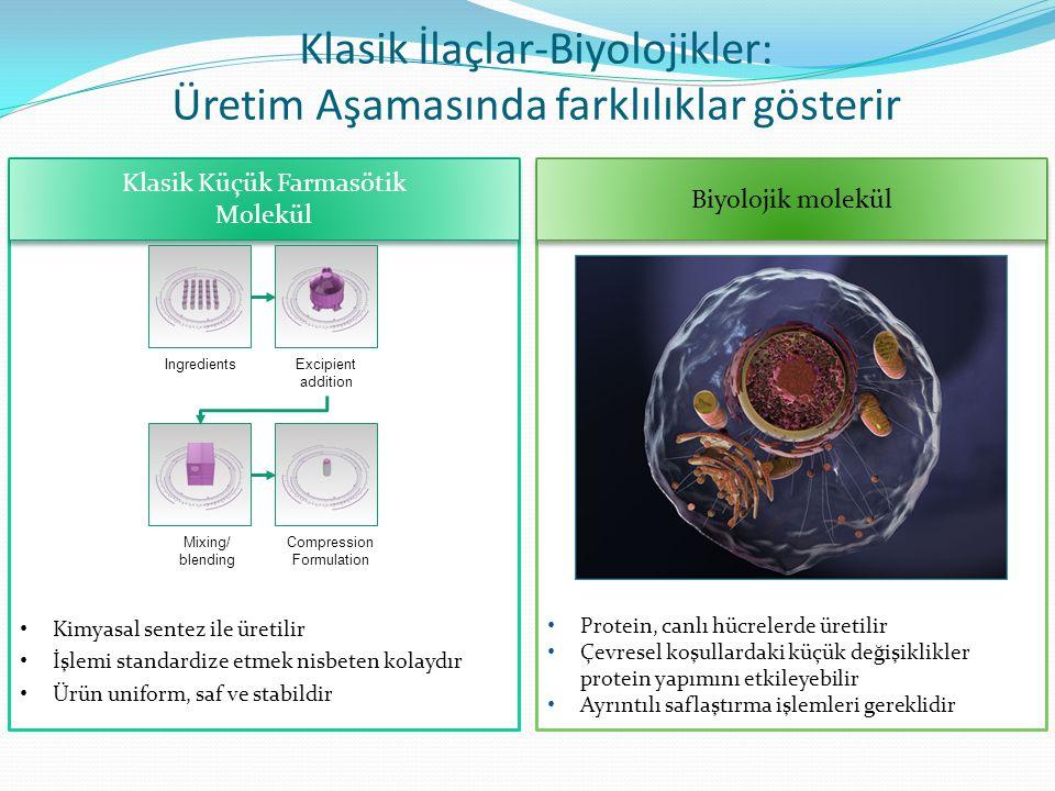 Klasik Küçük Farmasötik Molekül Klasik Küçük Farmasötik Molekül Biyolojik molekül Klasik İlaçlar-Biyolojikler: Üretim Aşamasında farklılıklar gösterir