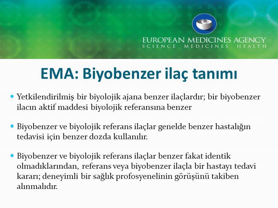 EMA: Biyobenzer ilaç tanımı Yetkilendirilmiş bir biyolojik ajana benzer ilaçlardır; bir biyobenzer ilacın aktif maddesi biyolojik referansına benzer B