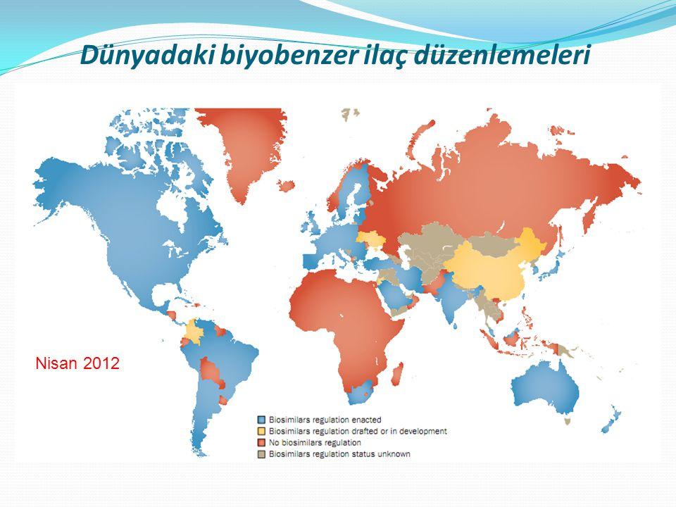 Dünyadaki biyobenzer ilaç düzenlemeleri Nisan 2012