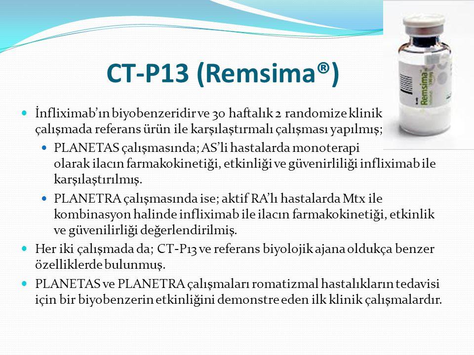 CT-P13 (Remsima®) İnfliximab'ın biyobenzeridir ve 30 haftalık 2 randomize klinik çalışmada referans ürün ile karşılaştırmalı çalışması yapılmış; PLANE
