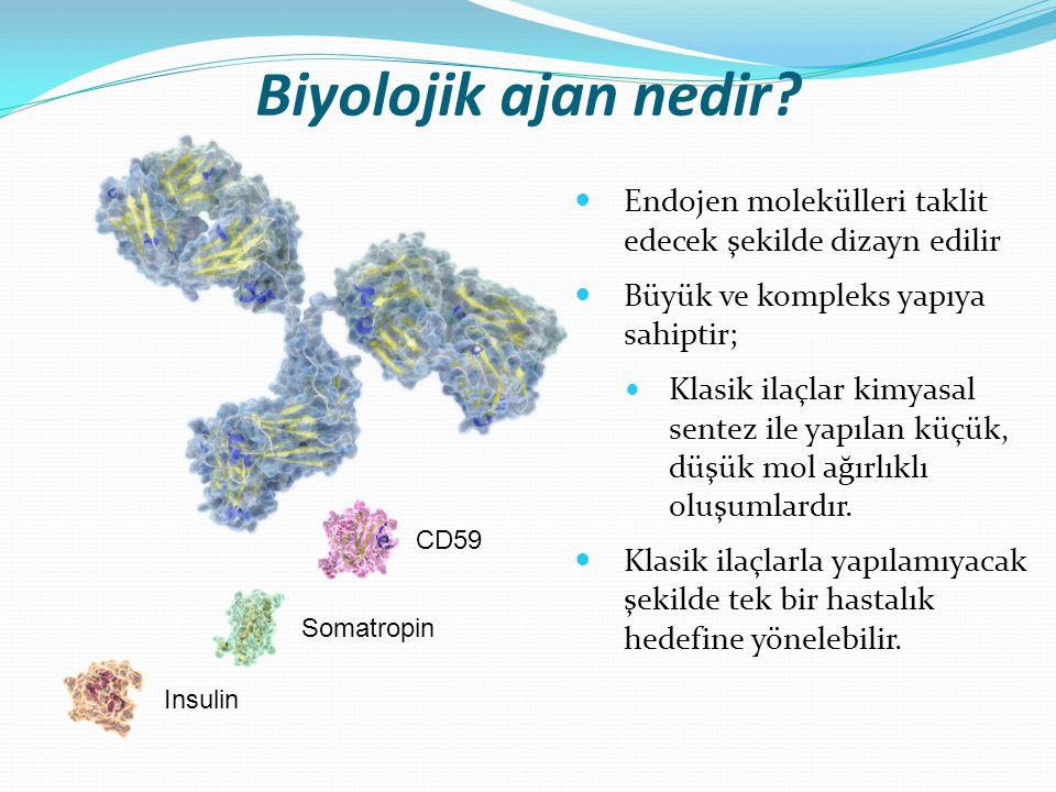 Biyolojik ajan nedir? Endojen molekülleri taklit edecek şekilde dizayn edilir Büyük ve kompleks yapıya sahiptir; Klasik ilaçlar kimyasal sentez ile ya