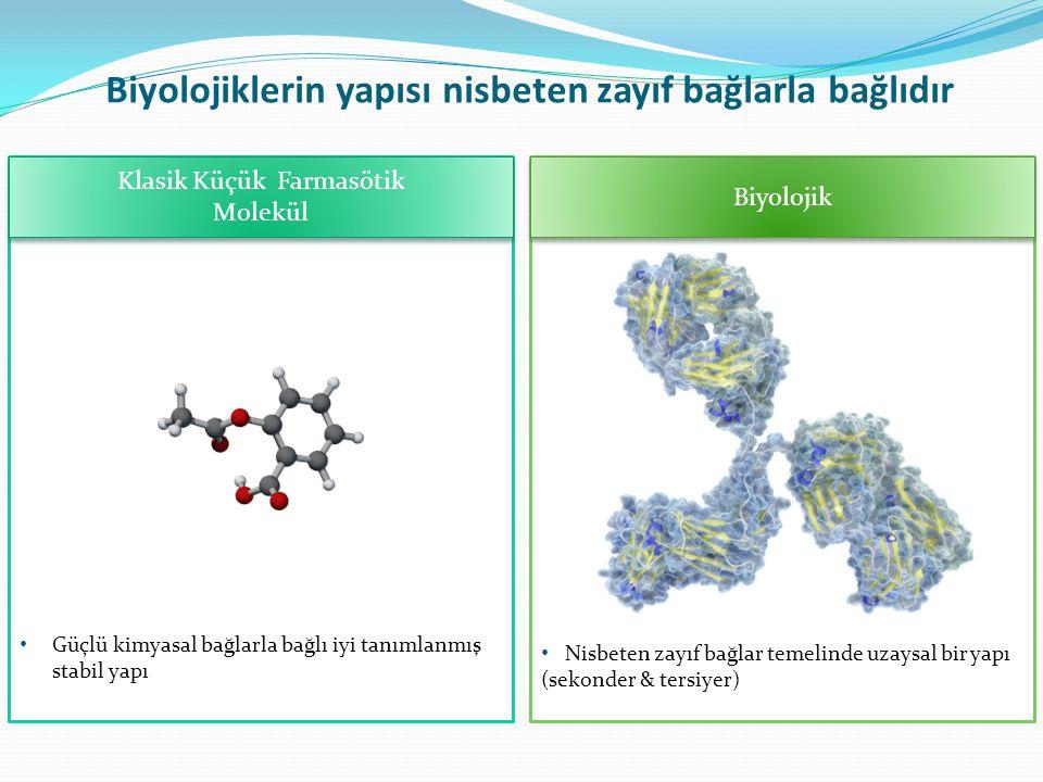 Klasik Küçük Farmasötik Molekül Klasik Küçük Farmasötik Molekül Biyolojik Biyolojiklerin yapısı nisbeten zayıf bağlarla bağlıdır Güçlü kimyasal bağlar