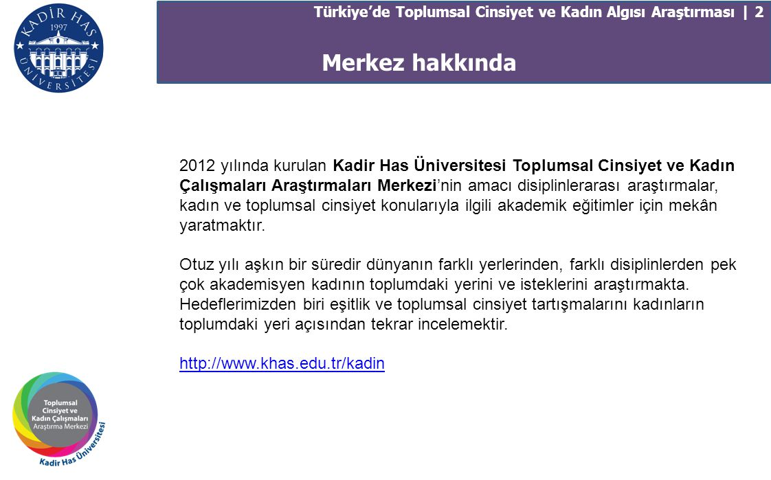 Merkez hakkında Türkiye'de Toplumsal Cinsiyet ve Kadın Algısı Araştırması | 2 2012 yılında kurulan Kadir Has Üniversitesi Toplumsal Cinsiyet ve Kadın