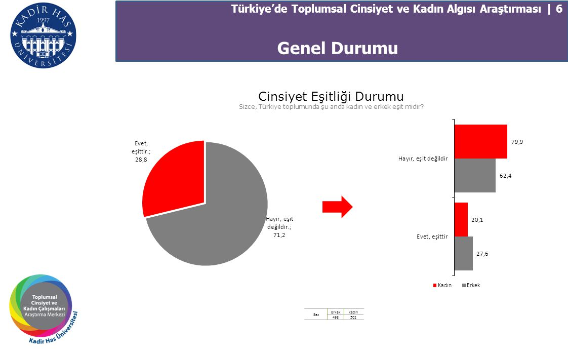 Türkiye'de Toplumsal Cinsiyet ve Kadın Algısı Araştırması | 17 Ailede Kadının Konumu 89,2 83,5 71,7 56,3 62,9 62,3 27,7 50,0 9,2 14,6 Kadın ve erkek kararları konuşarak almalıdır Evin reisliği kadın ve erkek arasında paylaşılır Kadın aile içinde erkekle eşit konumdadır Evin reisi erkektir Kadın gerektiğinde ailenin devamı için şiddeti görmezden gelmelidir Baz ErkekKadın 498502 Aile Hayatı Pozitif Değerler Toplamı
