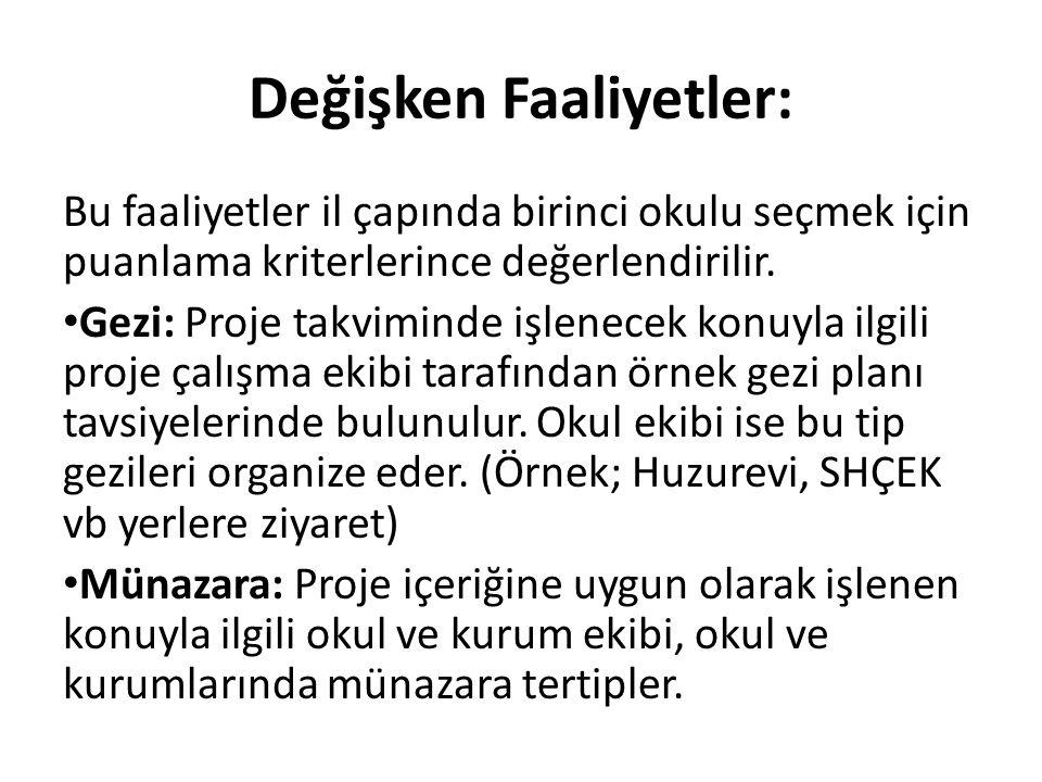 Değişken Faaliyetler: Bu faaliyetler il çapında birinci okulu seçmek için puanlama kriterlerince değerlendirilir. Gezi: Proje takviminde işlenecek kon