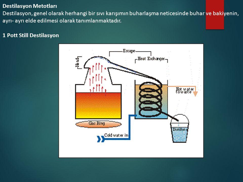 Destilasyon Metotları Destilasyon, genel olarak herhangi bir sıvı karışımın buharlaşma neticesinde buhar ve bakiyenin, ayrı- ayrı elde edilmesi olarak tanımlanmaktadır.