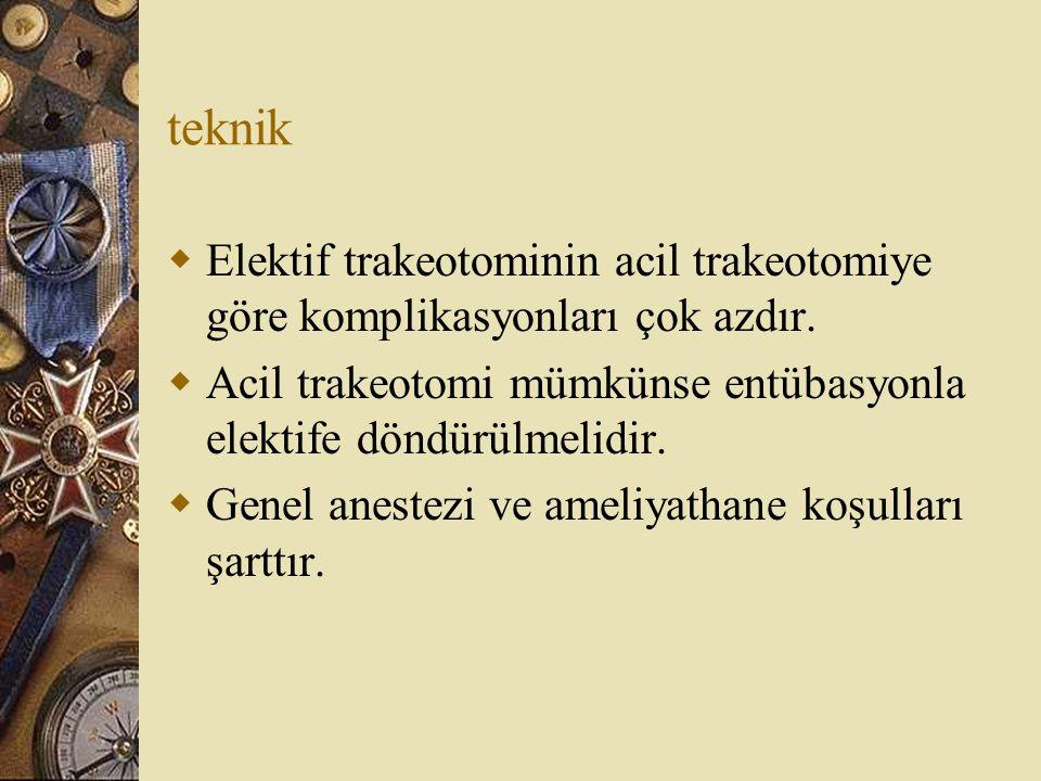 teknik  Elektif trakeotominin acil trakeotomiye göre komplikasyonları çok azdır.