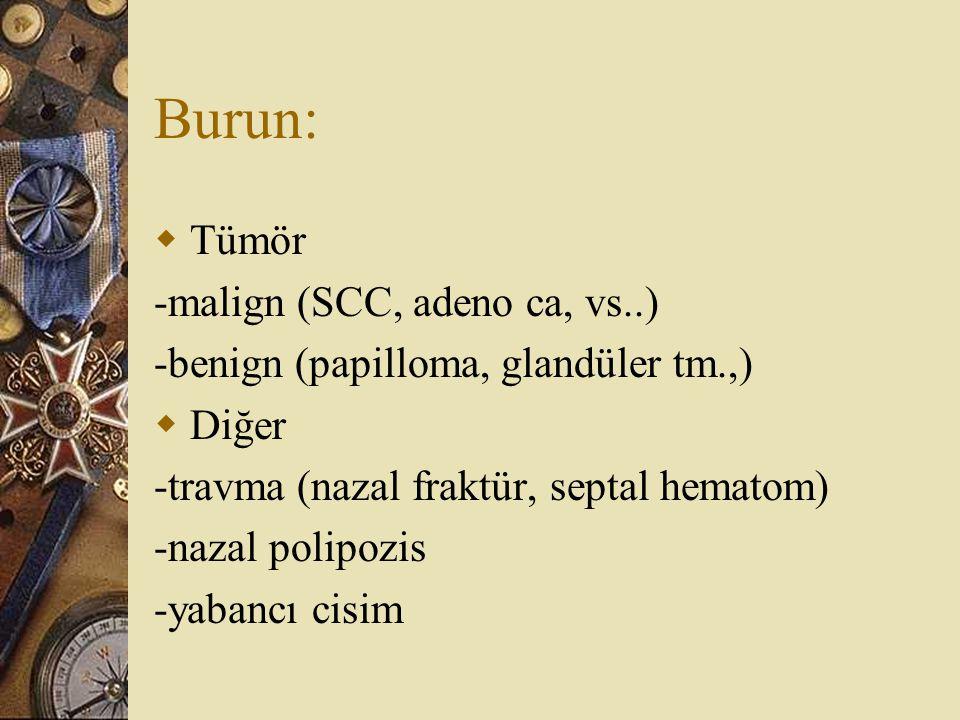 Burun:  Tümör -malign (SCC, adeno ca, vs..) -benign (papilloma, glandüler tm.,)  Diğer -travma (nazal fraktür, septal hematom) -nazal polipozis -yab
