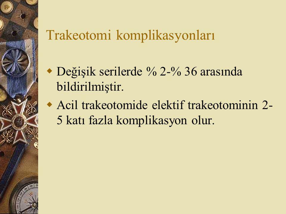 Trakeotomi komplikasyonları  Değişik serilerde % 2-% 36 arasında bildirilmiştir.  Acil trakeotomide elektif trakeotominin 2- 5 katı fazla komplikasy