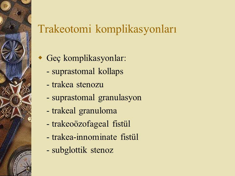 Trakeotomi komplikasyonları  Geç komplikasyonlar: - suprastomal kollaps - trakea stenozu - suprastomal granulasyon - trakeal granuloma - trakeoözofageal fistül - trakea-innominate fistül - subglottik stenoz