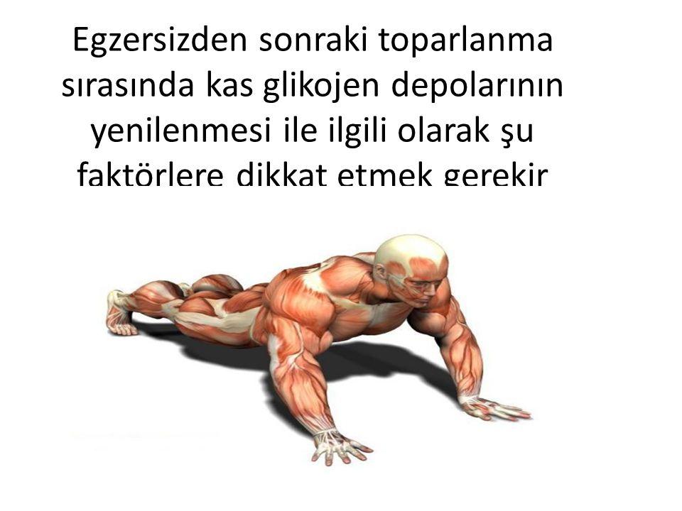 Egzersizden sonraki toparlanma sırasında kas glikojen depolarının yenilenmesi ile ilgili olarak şu faktörlere dikkat etmek gerekir