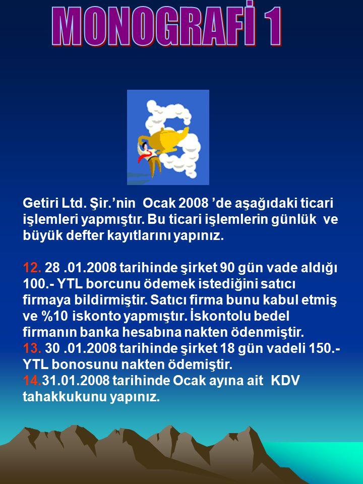 Getiri Ltd. Şir.'nin Ocak 2008 'de aşağıdaki ticari işlemleri yapmıştır.