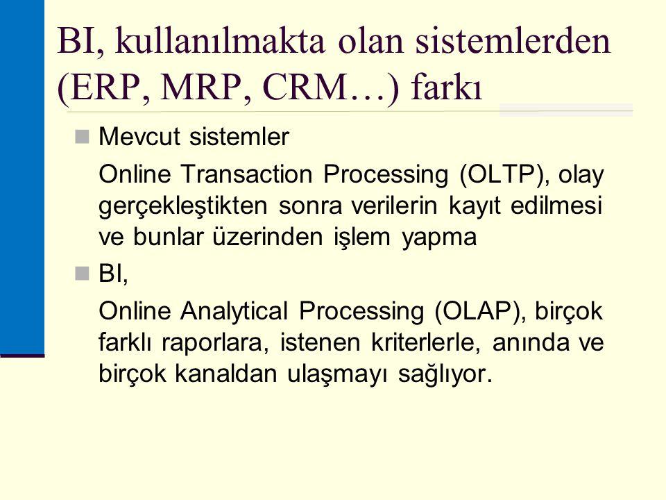 BI, kullanılmakta olan sistemlerden (ERP, MRP, CRM…) farkı Mevcut sistemler Online Transaction Processing (OLTP), olay gerçekleştikten sonra verilerin kayıt edilmesi ve bunlar üzerinden işlem yapma BI, Online Analytical Processing (OLAP), birçok farklı raporlara, istenen kriterlerle, anında ve birçok kanaldan ulaşmayı sağlıyor.