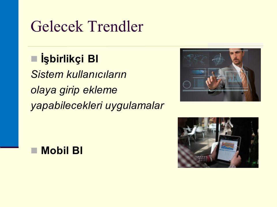 Gelecek Trendler İşbirlikçi BI Sistem kullanıcıların olaya girip ekleme yapabilecekleri uygulamalar Mobil BI