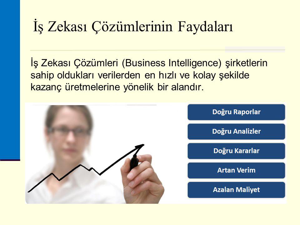 İş Zekası Çözümlerinin Faydaları İş Zekası Çözümleri (Business Intelligence) şirketlerin sahip oldukları verilerden en hızlı ve kolay şekilde kazanç üretmelerine yönelik bir alandır.