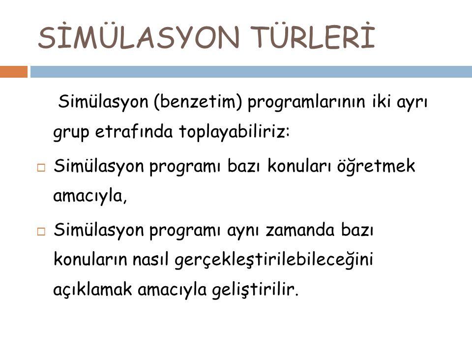 SİMÜLASYON TÜRLERİ Simülasyon (benzetim) programlarının iki ayrı grup etrafında toplayabiliriz:  Simülasyon programı bazı konuları öğretmek amacıyla,  Simülasyon programı aynı zamanda bazı konuların nasıl gerçekleştirilebileceğini açıklamak amacıyla geliştirilir.