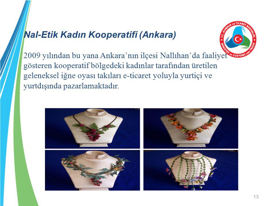 Nal-Etik Kadın Kooperatifi (Ankara) 2009 yılından bu yana Ankara'nın ilçesi Nallıhan'da faaliyet gösteren kooperatif bölgedeki kadınlar tarafından üre