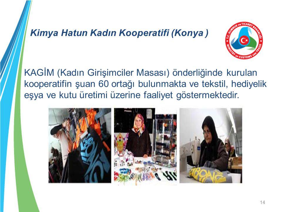 Kimya Hatun Kadın Kooperatifi (Konya ) KAGİM (Kadın Girişimciler Masası) önderliğinde kurulan kooperatifin şuan 60 ortağı bulunmakta ve tekstil, hediy