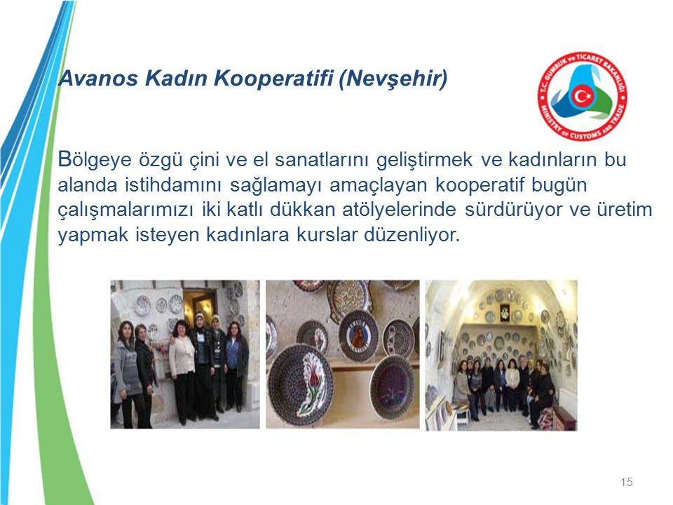 Avanos Kadın Kooperatifi (Nevşehir) B ölgeye özgü çini ve el sanatlarını geliştirmek ve kadınların bu alanda istihdamını sağlamayı amaçlayan kooperati