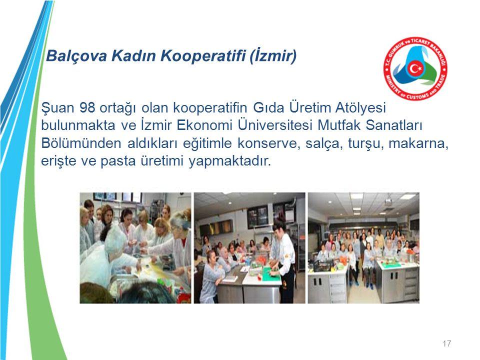 Balçova Kadın Kooperatifi (İzmir) Şuan 98 ortağı olan kooperatifin Gıda Üretim Atölyesi bulunmakta ve İzmir Ekonomi Üniversitesi Mutfak Sanatları Bölü