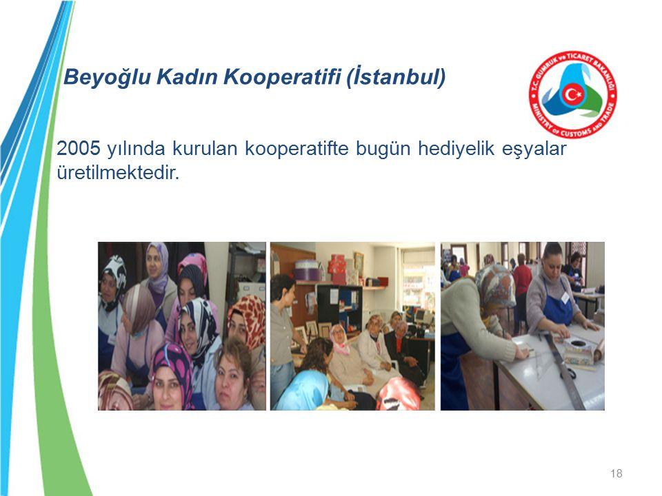 Beyoğlu Kadın Kooperatifi (İstanbul) 2005 yılında kurulan kooperatifte bugün hediyelik eşyalar üretilmektedir. 18
