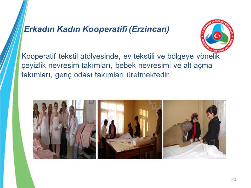 Erkadın Kadın Kooperatifi (Erzincan) Kooperatif tekstil atölyesinde, ev tekstili ve bölgeye yönelik çeyizlik nevresim takımları, bebek nevresimi ve al