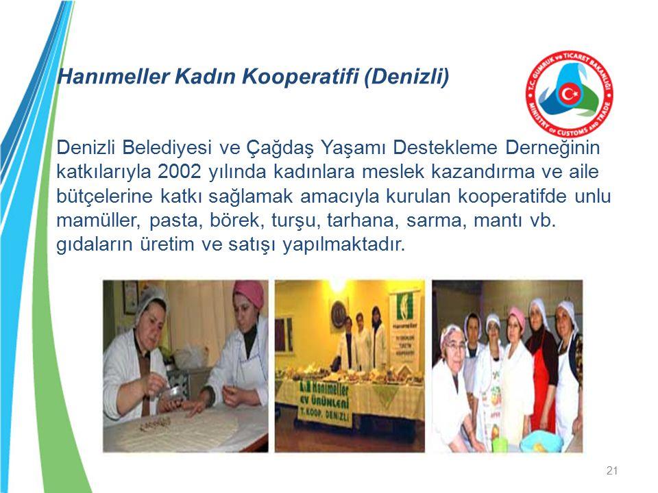 Hanımeller Kadın Kooperatifi (Denizli) Denizli Belediyesi ve Çağdaş Yaşamı Destekleme Derneğinin katkılarıyla 2002 yılında kadınlara meslek kazandırma