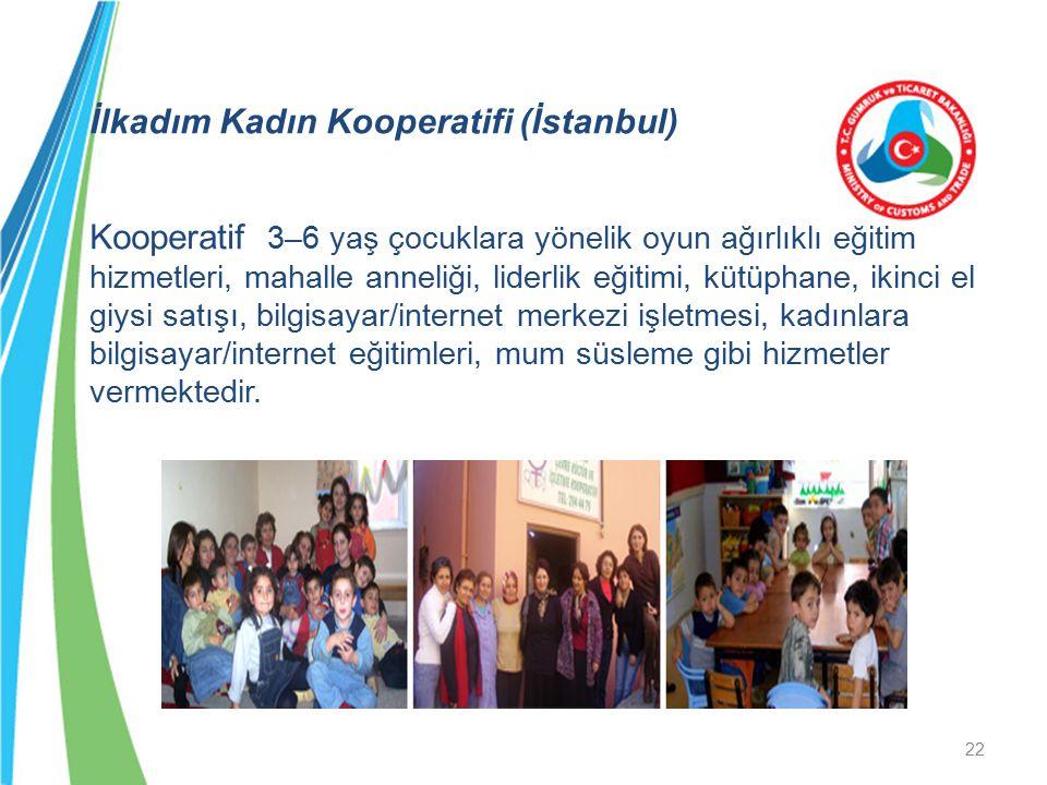 İlkadım Kadın Kooperatifi (İstanbul) Kooperatif 3–6 yaş çocuklara yönelik oyun ağırlıklı eğitim hizmetleri, mahalle anneliği, liderlik eğitimi, kütüph