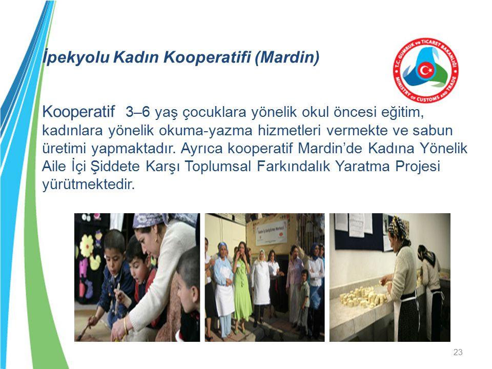 İpekyolu Kadın Kooperatifi (Mardin) Kooperatif 3–6 yaş çocuklara yönelik okul öncesi eğitim, kadınlara yönelik okuma-yazma hizmetleri vermekte ve sabu