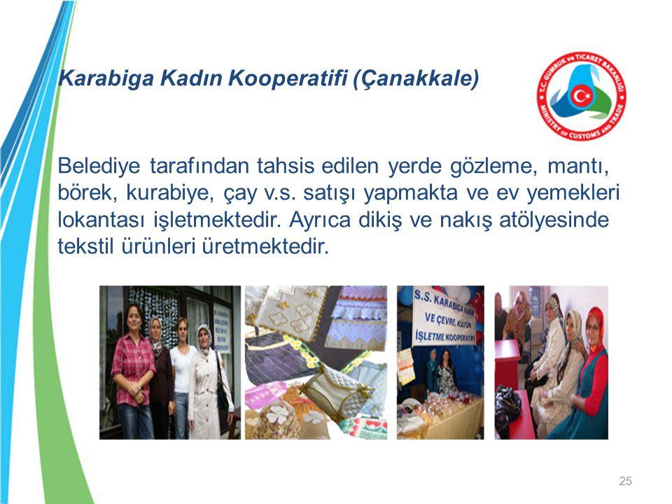Karabiga Kadın Kooperatifi (Çanakkale) Belediye tarafından tahsis edilen yerde gözleme, mantı, börek, kurabiye, çay v.s. satışı yapmakta ve ev yemekle