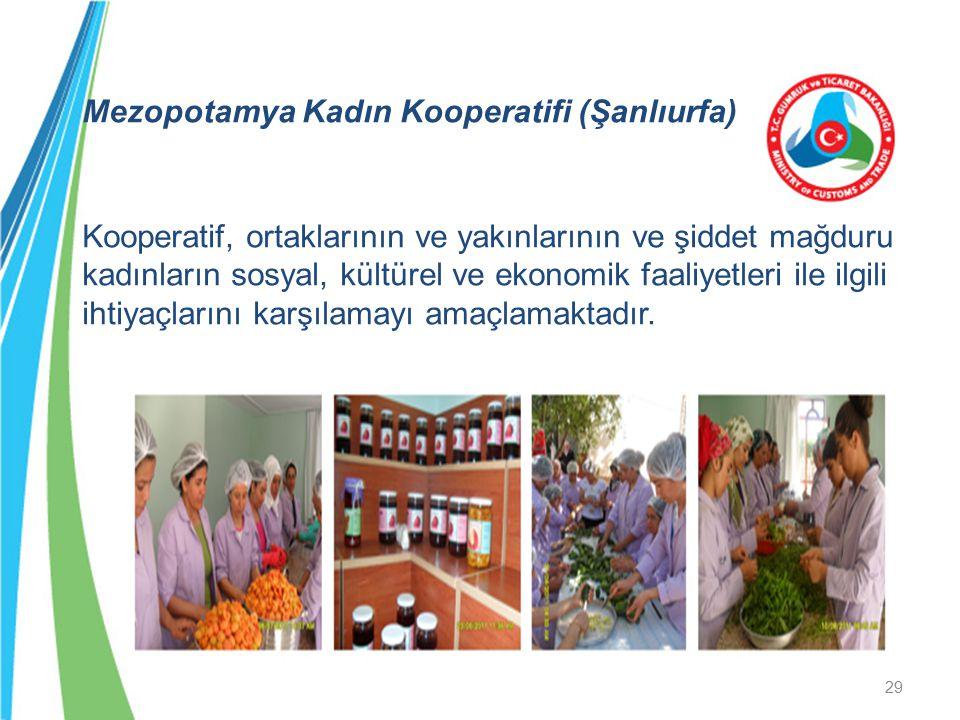 Mezopotamya Kadın Kooperatifi (Şanlıurfa) Kooperatif, ortaklarının ve yakınlarının ve şiddet mağduru kadınların sosyal, kültürel ve ekonomik faaliyetl