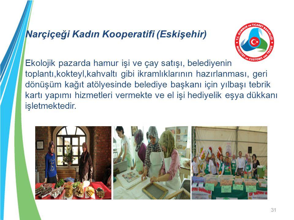 Narçiçeği Kadın Kooperatifi (Eskişehir) Ekolojik pazarda hamur işi ve çay satışı, belediyenin toplantı,kokteyl,kahvaltı gibi ikramlıklarının hazırlanm