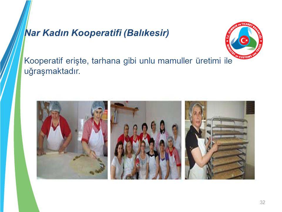 Nar Kadın Kooperatifi (Balıkesir) Kooperatif erişte, tarhana gibi unlu mamuller üretimi ile uğraşmaktadır. 32