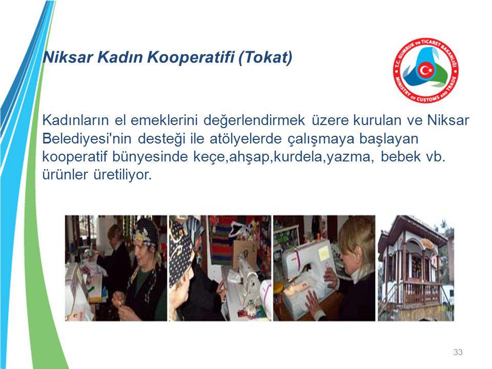 Niksar Kadın Kooperatifi (Tokat) Kadınların el emeklerini değerlendirmek üzere kurulan ve Niksar Belediyesi'nin desteği ile atölyelerde çalışmaya başl