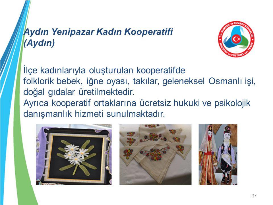 Aydın Yenipazar Kadın Kooperatifi (Aydın) İlçe kadınlarıyla oluşturulan kooperatifde folklorik bebek, iğne oyası, takılar, geleneksel Osmanlı işi, doğ