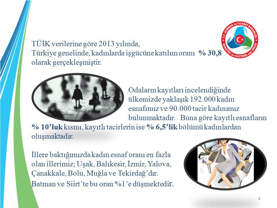 TÜİK verilerine göre 2013 yılında, Türkiye genelinde, kadınlarda işgücüne katılım oranı % 30,8 olarak gerçekleşmiştir. Odaların kayıtları incelendiğin