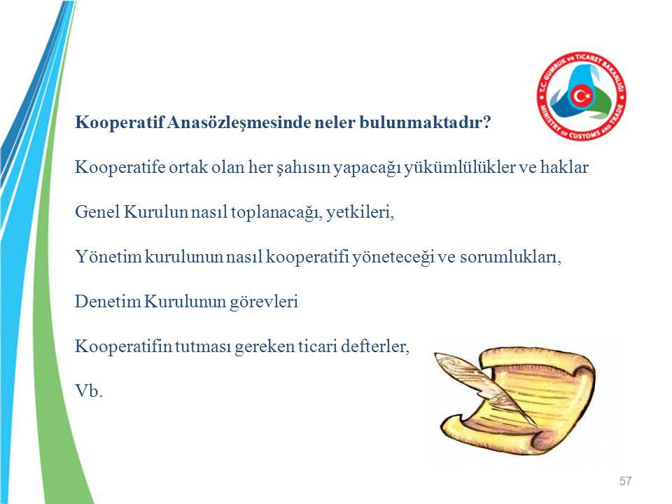 Kooperatif Anasözleşmesinde neler bulunmaktadır? Kooperatife ortak olan her şahısın yapacağı yükümlülükler ve haklar Genel Kurulun nasıl toplanacağı,