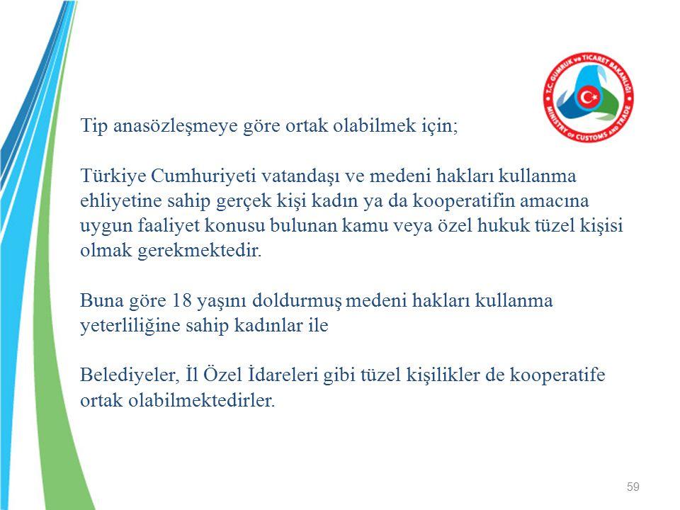 Tip anasözleşmeye göre ortak olabilmek için; Türkiye Cumhuriyeti vatandaşı ve medeni hakları kullanma ehliyetine sahip gerçek kişi kadın ya da koopera