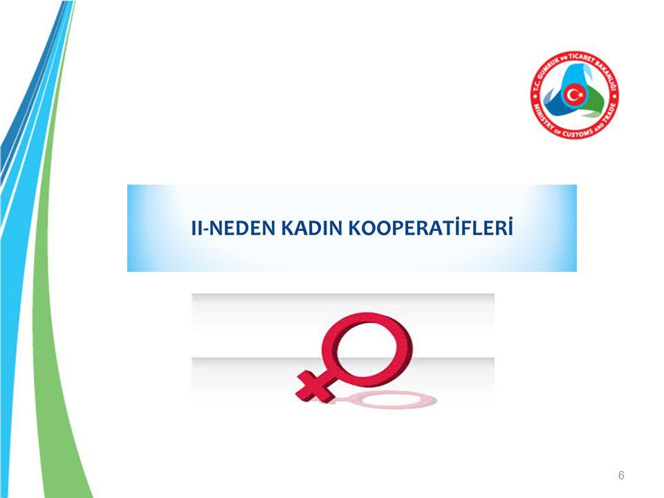 Kadın Kooperatifleri; -Düşük sermayeli kadın girişimcileri bir araya getirir.