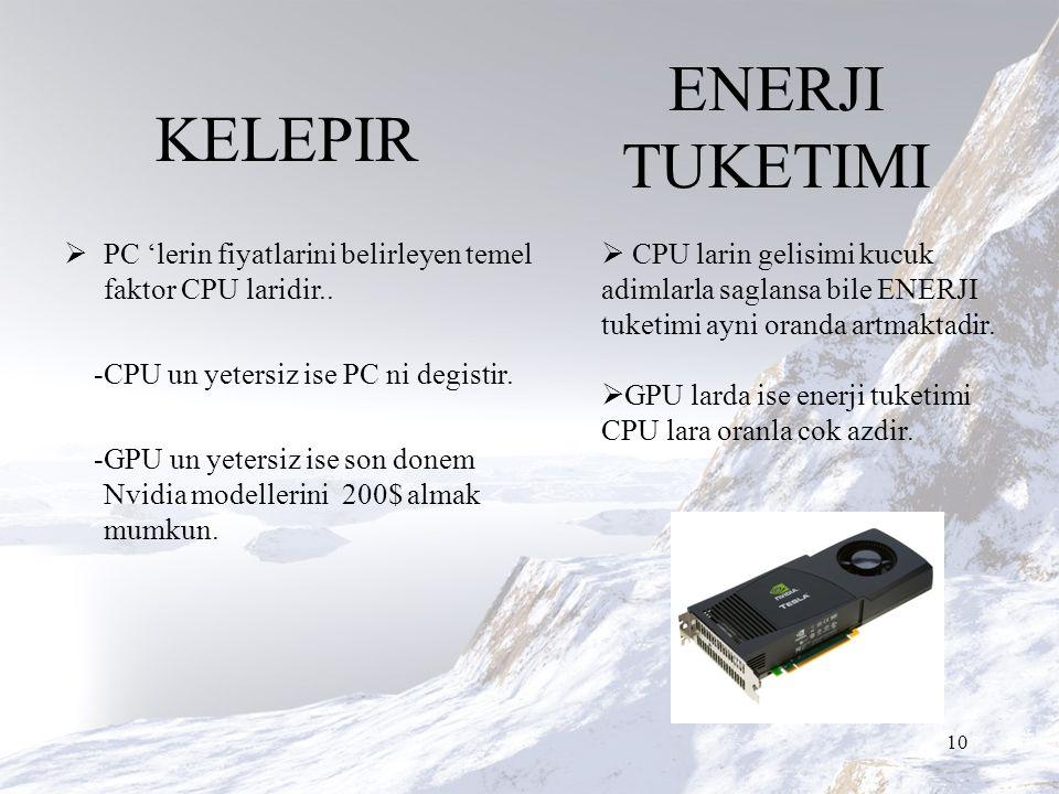 KELEPIR  PC 'lerin fiyatlarini belirleyen temel faktor CPU laridir..