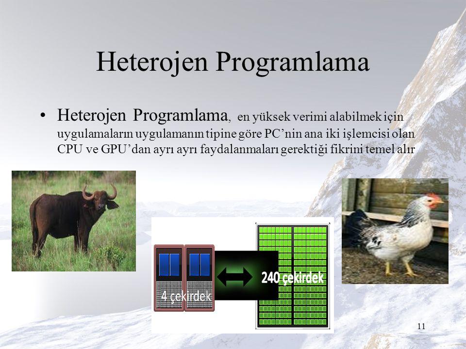 Heterojen Programlama Heterojen Programlama, en yüksek verimi alabilmek için uygulamaların uygulamanın tipine göre PC'nin ana iki işlemcisi olan CPU ve GPU'dan ayrı ayrı faydalanmaları gerektiği fikrini temel alır 11