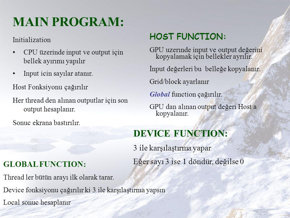 MAIN PROGRAM: Initialization CPU üzerinde input ve output için bellek ayırımı yapılır Input icin sayılar atanır.