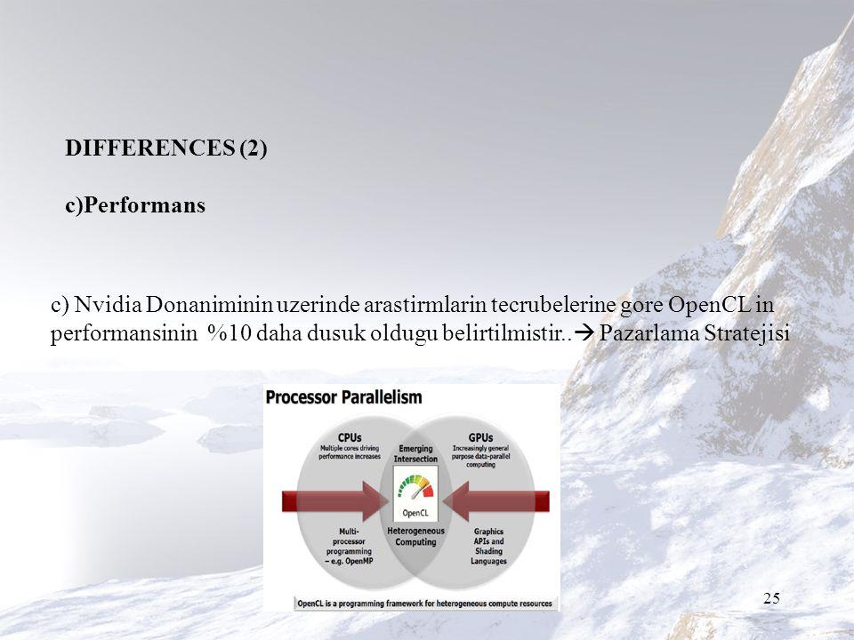25 c) Nvidia Donaniminin uzerinde arastirmlarin tecrubelerine gore OpenCL in performansinin %10 daha dusuk oldugu belirtilmistir..